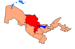 Map of Uzbekistan, location of Navoiy Province highlighted
