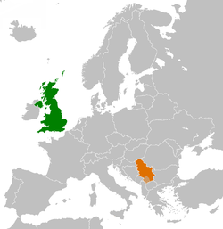 Map indicating locations of United Kingdom and Serbia
