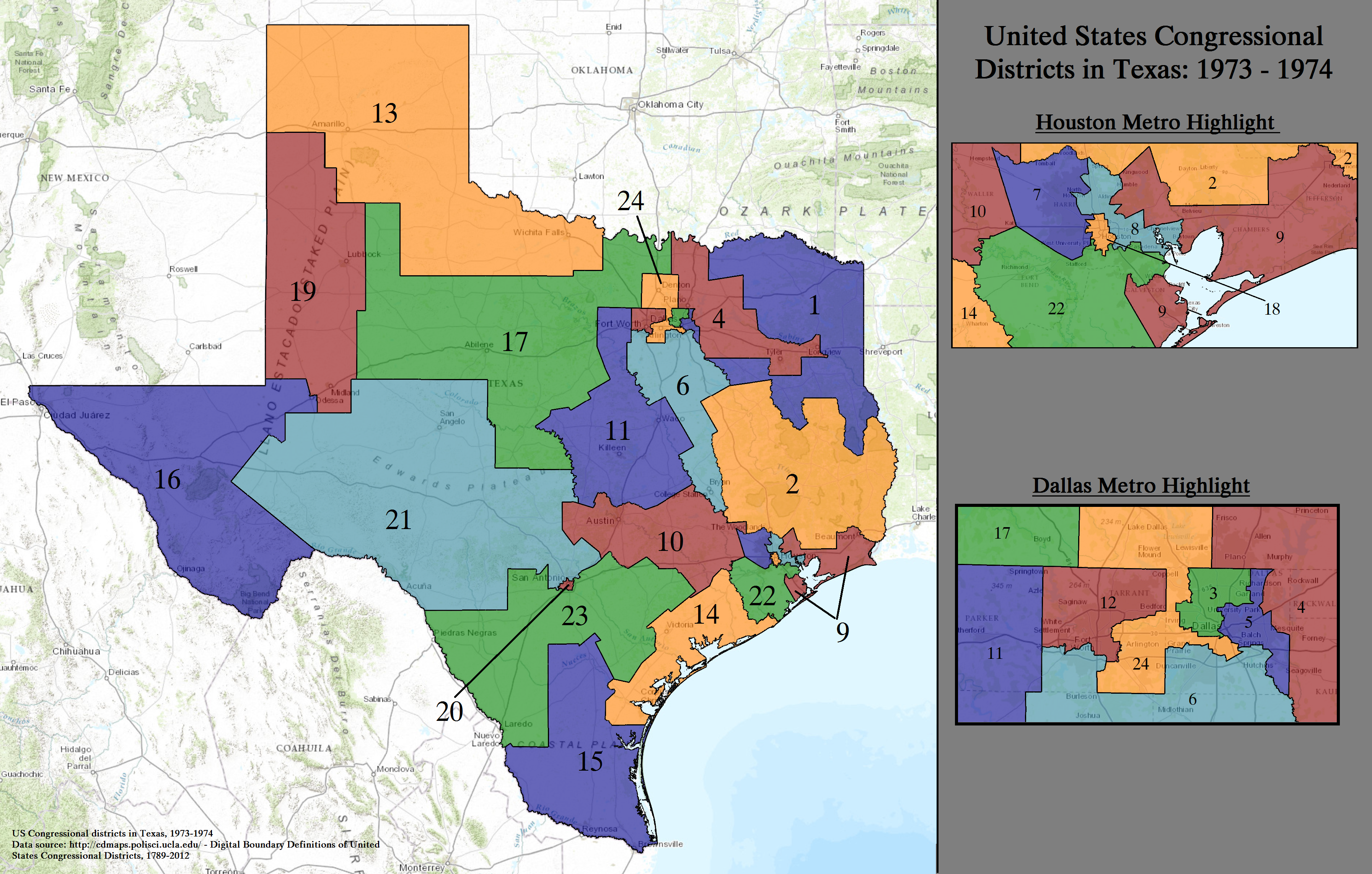 File:United States Congressional Districts in Texas, 1973 ...