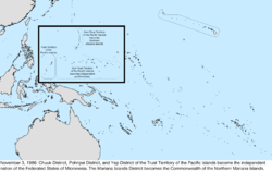 Map of the change to the United States in the Pacific Ocean on November 3, 1986