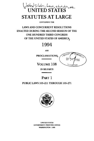File:United States Statutes at Large Volume 108 Part 1.djvu