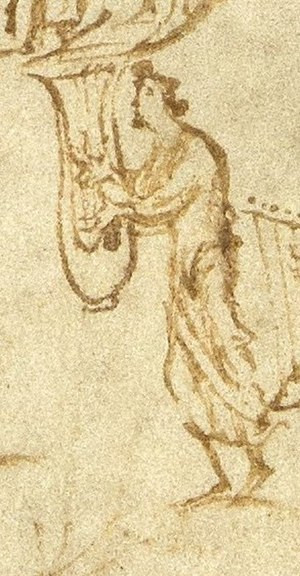 Cithara - Lyre or cithara from the Utrecht Psalter, drawn by an Anglo-Saxon artist in Reims.