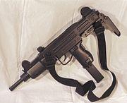 An Uzi submachine gun with sling