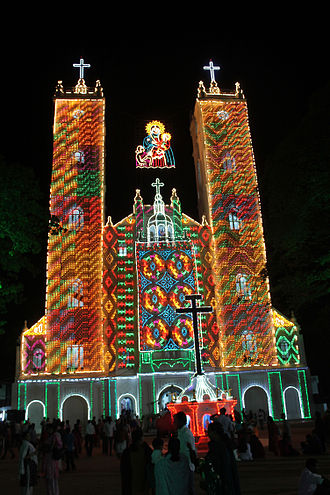 National Shrine Basilica of Our Lady of Ransom, Vallarpadam - Image: Vallarpadam Bascilica lighted up