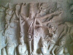 Cave Temples of Mahabalipuram - Bas-relief inside the Varaha Cave