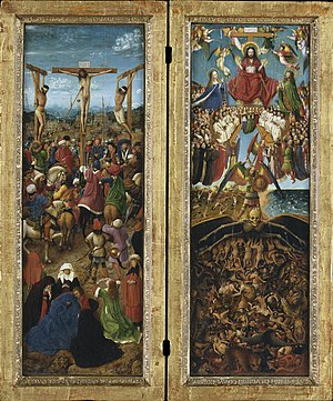 Crucifixion and Last Judgement diptych - Jan van Eyck, Crucifixion and Last Judgement diptych, c. 1430–40. Oil on canvas, transferred from wood. Each 56.5 cm × 19.7 cm (22.25 in × 7.75 in); Metropolitan Museum of Art, New York