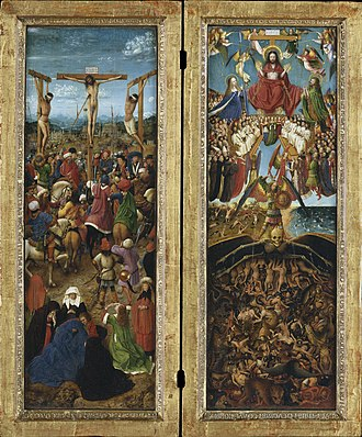 Crucifixion (van Eyck) - Jan van Eyck, Crucifixion and Last Judgement diptych, c. 1430–40. Oil on canvas, transferred from wood. Each 56.5 cm × 19.7 cm (22.25 in × 7.75 in); Metropolitan Museum of Art, New York