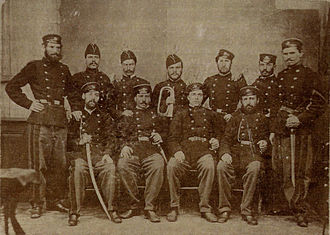 Bulgarian Legion - Participants in the Second Bulgarian Legion (1867–1868). Vasil Levski is the third from the left on the first row
