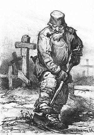 Gravedigger - Grave-digger, by Viktor Vasnetsov, 1871.