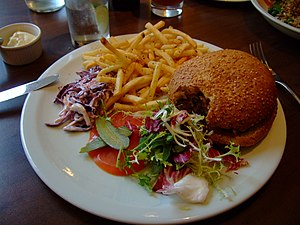 Veggie burger with chips from Eat and Two Veg