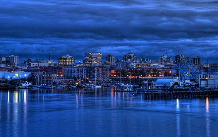 Downtown Victoria at twilight. Downtown is central business district for Greater Victoria and a major tourist destination. Victoria, British Columbia Skyline at Twilight.jpg