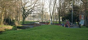 Victoria Park, Northampton -  Victoria Park looking south over Dallington Brook, 2014