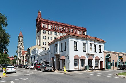 Saint Augustine, Florida, the oldest continuously occupied European-established settlement in the continental United States (1565) View of St. Augustine FL at intersection of Cathedral Pl and Charlotte St 20160707 1.jpg