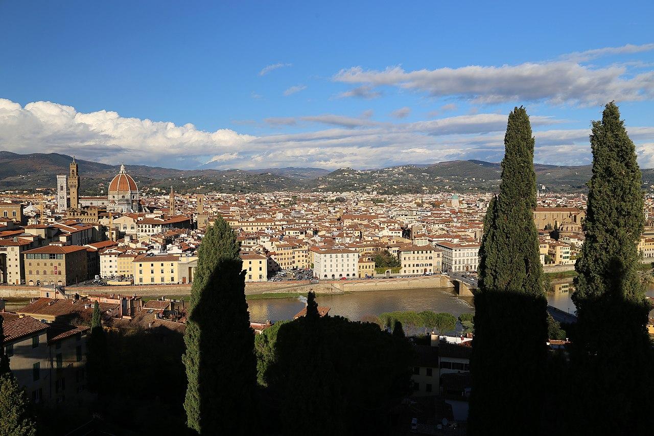 Firenze, Villa Bardini, terrazza con vista su Firenze, il Duomo e Palazzo Vecchio