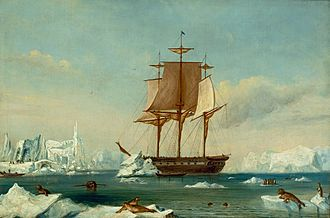 United States Exploring Expedition - USS Vincennes at Disappointment Bay, Antarctica in early 1840