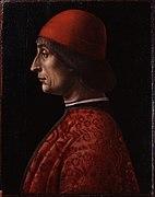 Portrait d'un homme vêtu de rouge, tourné vers la gauche.