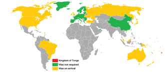 Visa policy of Tonga - Visa policy of Tonga