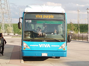 Viva Purple - A Viva Purple bus stops at the Richmond Hill Centre Terminal.