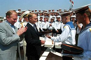 Black Sea Fleet - Vladimir Putin with Ukrainian President Leonid Kuchma on board the Black Sea Fleet's flagship, July 2001