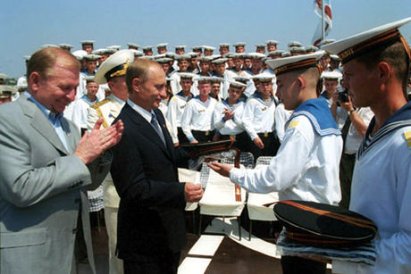 Vladimir Putin with Ukrainian President Leonid Kuchma on board the Black Sea Fleet's flagship, July 2001 Vladimir Putin in Ukraine 28-29 July 2001-17.jpg