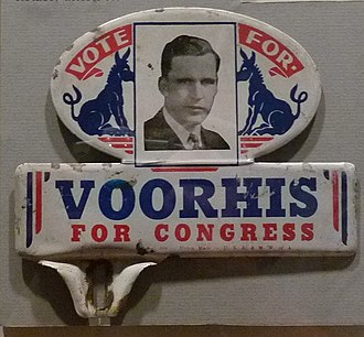 Jerry Voorhis - License plate attachment promoting Voorhis's candidacy