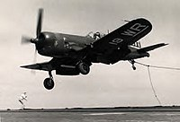 Vought F4U-4B Corsair of VMF-312 landing aboard an aircraft carrier, circa in the late 1940s