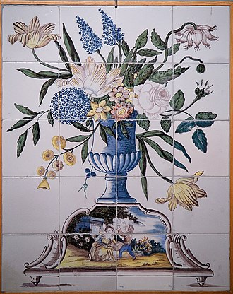 Princessehof Ceramics Museum - Image: WLANL 23dingenvoormusea tegeltableau met bloemvaas