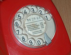 Telephone number - A Swiss rotary telephone dial from the 1970s, showing the telephone's number (94 29 68) along with various local emergency services.