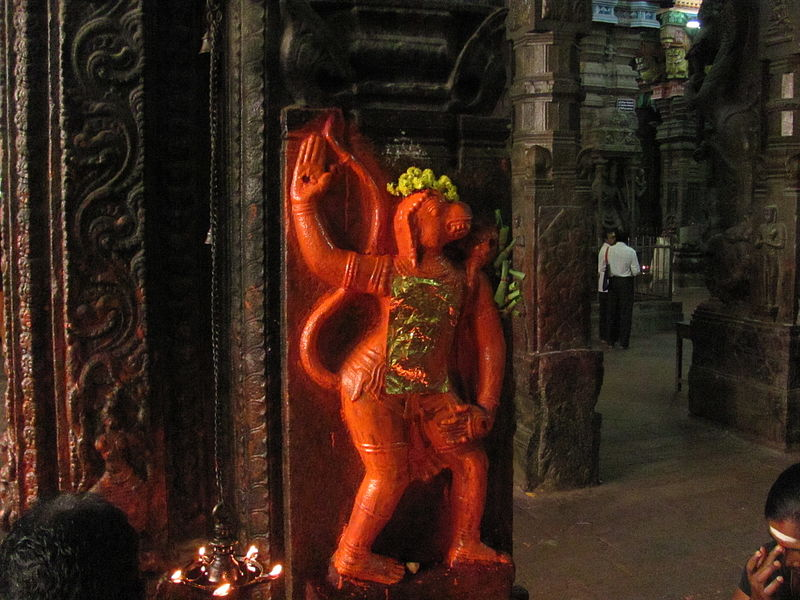 File:Wall Sculpture of Hanuman Swami at Madurai Temple.JPG