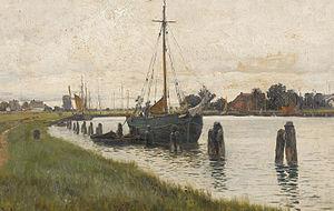 Walter Moras - Flussufer mit Segelschiff in Norddeutschland.jpg