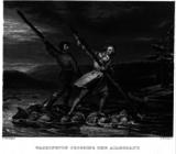 Джордж Вашингтон и Кристофер Джист переправляются через реку Аллегейни (гравюра 1845 года, предположительно Дэниела Хантингдона)