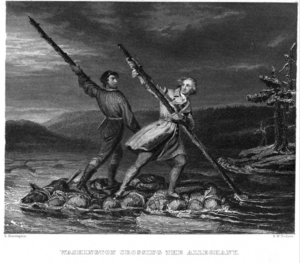 Christopher Gist - Engraving based on George Washington and Christopher Gist crossing the Allegheny River, attributed to painter Daniel Huntington, mid 19th century.