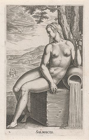 Salmacis - Water Nymph Salmacis, engraving by Philip Galle (1587)