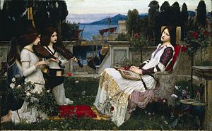 "Saint Cecilia - John William Waterhouse - Saint Cecilia, 1895: ""In a clear walled city on the sea. Near gilded organ pipes – slept St. Cecily"""