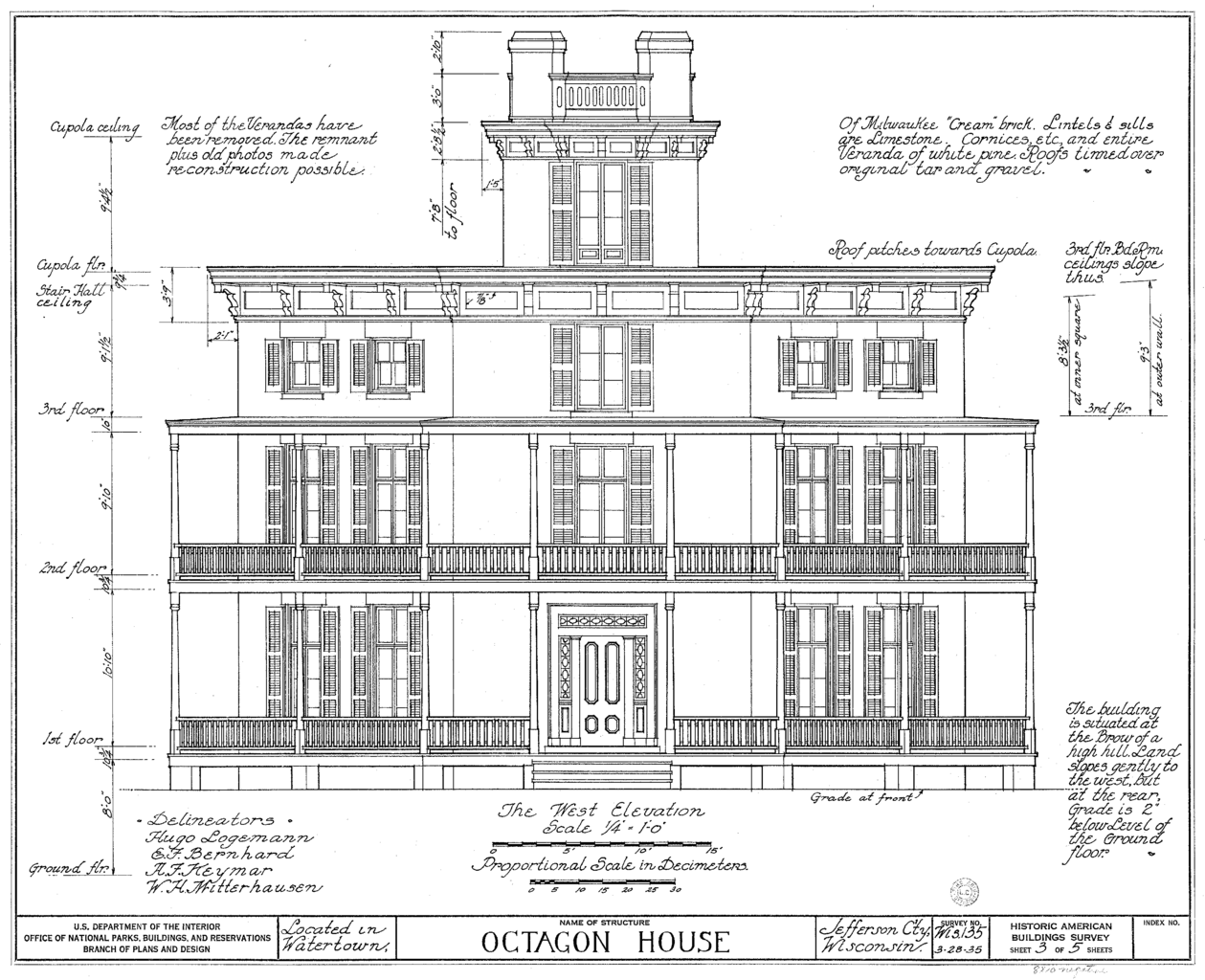 Building Front Elevation Drawings : File watertown octagon house elevation wikimedia commons
