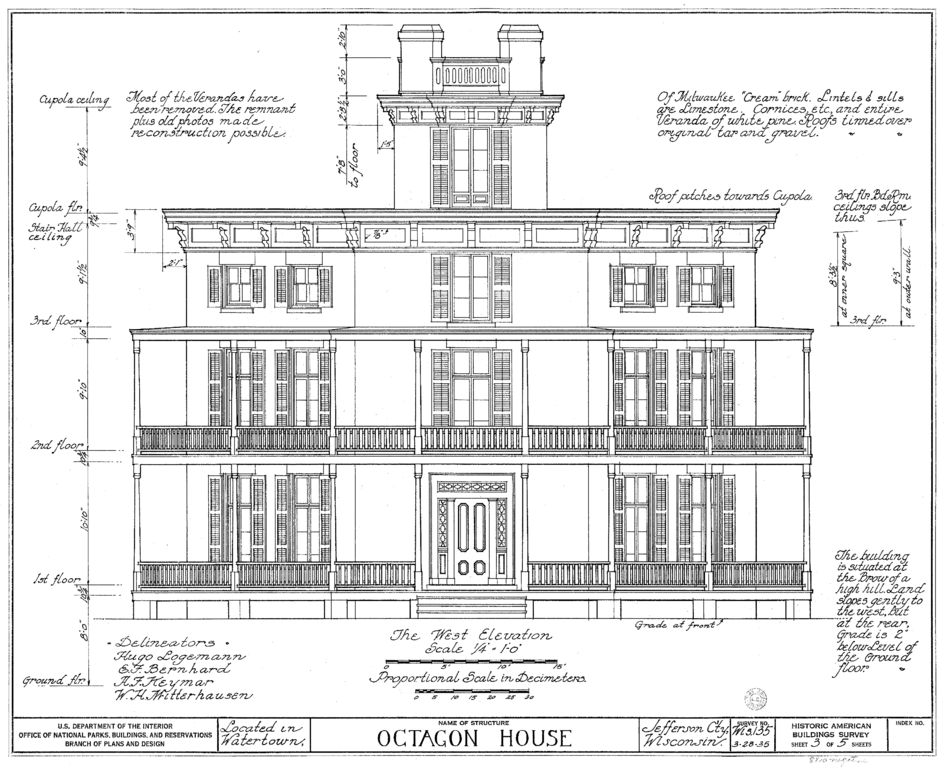 Front Elevation Of Floor Plan : File watertown octagon house elevation wikimedia commons