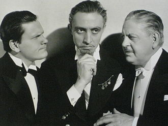 Thurston Hall - Publicity photograph with Warren Hymer, Mischa Auer, and Thurston Hall (right) for We Have Our Moments (1937)