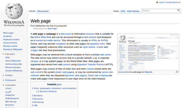 A web page can be displayed using a web browser. Web browsers often highlight and underline hypertext links and web pages can contain images. Web Page.png