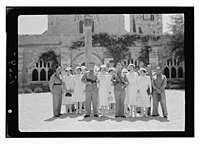 Wedding at St. George's Cathedral on June 3, 1942. Group through archway, closer up LOC matpc.12422.jpg