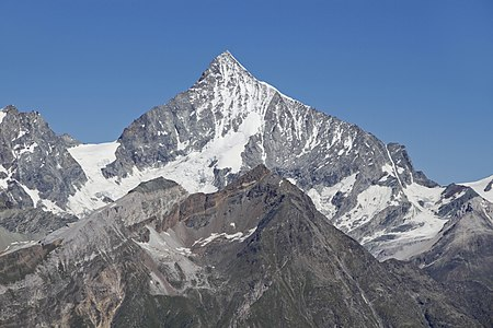 Weisshorn as seen from Gornergrat, Wallis, Switzerland, 2012 August.jpg