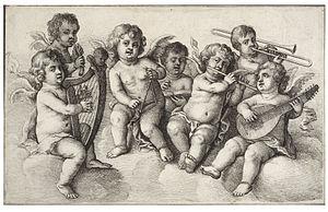 Wenceslas Hollar - Concert of cherubs in the c...