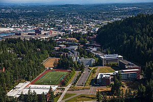 Bellingham, Washington - WWU Campus, Looking North to Downtown Bellingham