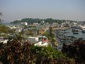 Cheung Chau - The village of Cheung Chau, viewed from the north. The bay of Tung Wan is on the left and Cheung Chau Typhoon Shelter is on the right.