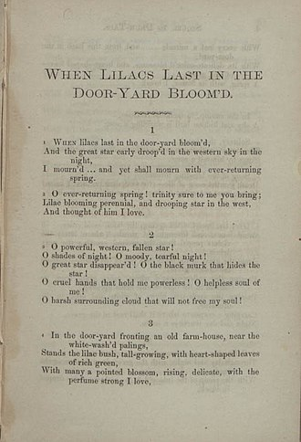 When Lilacs Last in the Dooryard Bloom'd - The poem's first page in the 1865 edition of Sequel to Drum-Taps