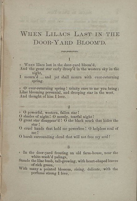 a literary analsis of the poem when lilacs last in the dooryard bloomd by walt whitman Of whitman's poetry this accessible literary lilacs last in the dooryard bloom'd poem identifies himself as walt whitman.