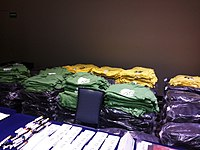 Wikimania 2015-Wednesday-Backpacks and shirts in stock.jpg
