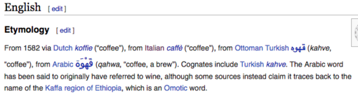 "A screenshot of the Etymology section of the English word ""coffee"" in the English Wiktionary"