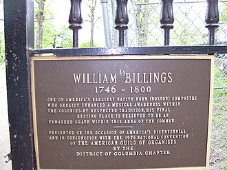William Billings - William Billings grave memorial at the Central Burying Ground on Boston Common