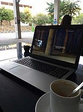 Working on a laptop at a café/coffee house