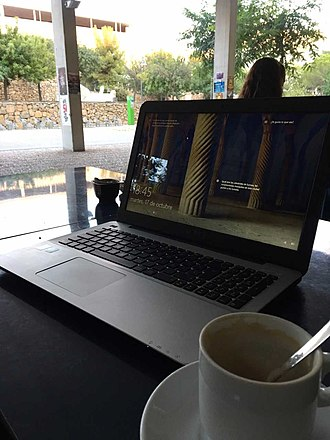 Coffee culture - Working on a laptop at a café/coffee house